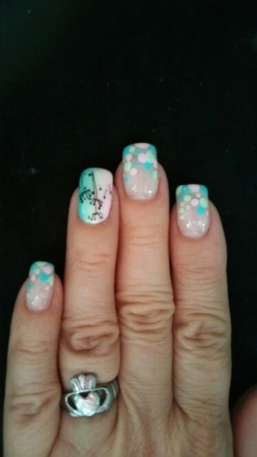 April 2015 pastel polka-dot and ombre (by The Nail Hut)