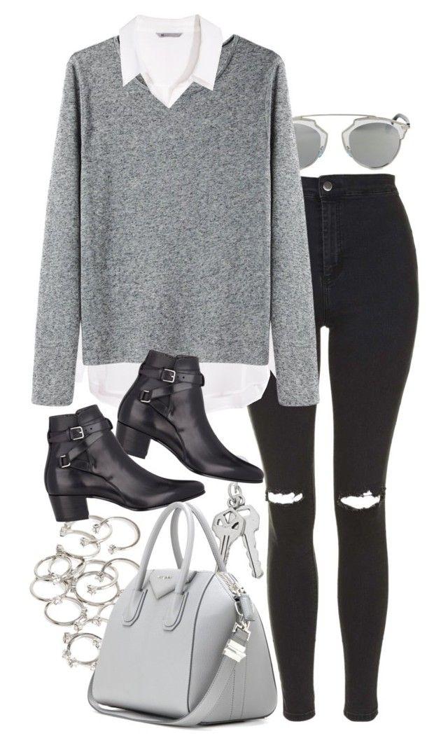 Legging + tricô cinza + camisa Branca + acessórios