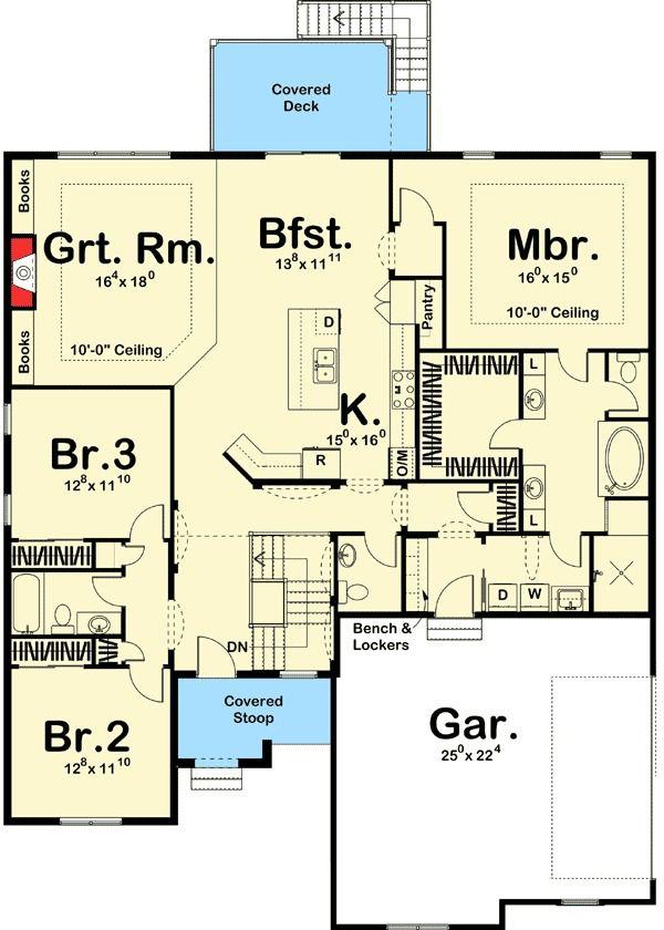 Plan 62522DJ: Modern Prairie Ranch with Open Concept Floor ...