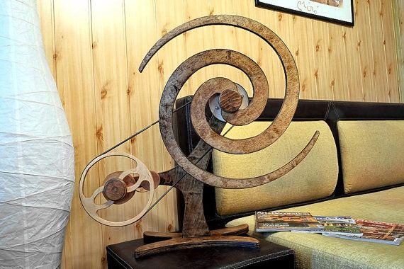 Kinetic plywood ART  Wooden Kinetic Sculpture   VORTEX