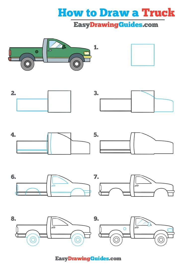 Learn How to Draw a Truck: Easy Step-by-Step Drawing Tutorial for Kids and Beginners. #truck #drawingtutorial #easydrawing See the full tutorial at https://easydrawingguides.com/how-to-draw-a-truck-really-easy-drawing-tutorial/.