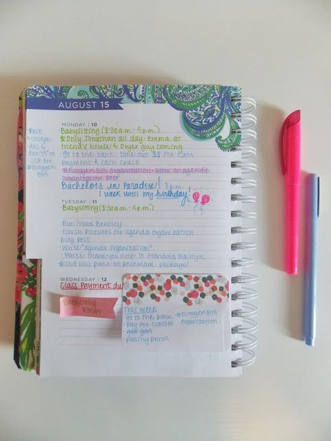 How I organize my Lilly Pulitzer agenda