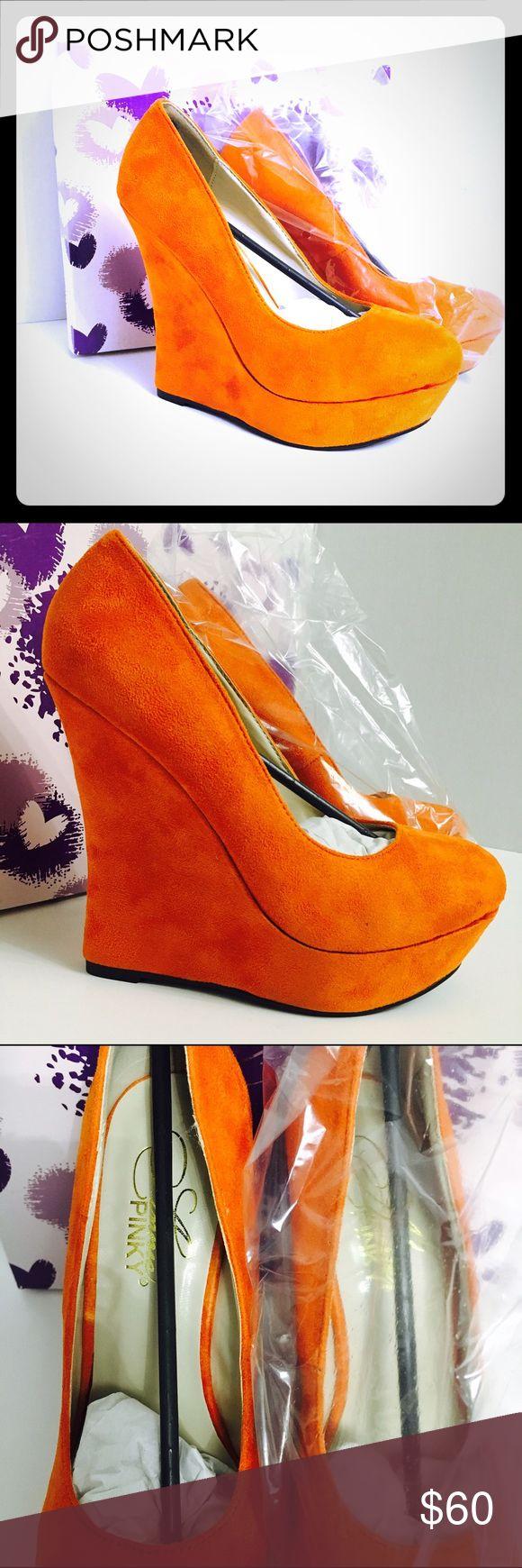 🆕Cynthia Rust Burnt Orange Wedge High Heels!🆕 🆕New in box!🆕 Shoes Wedges