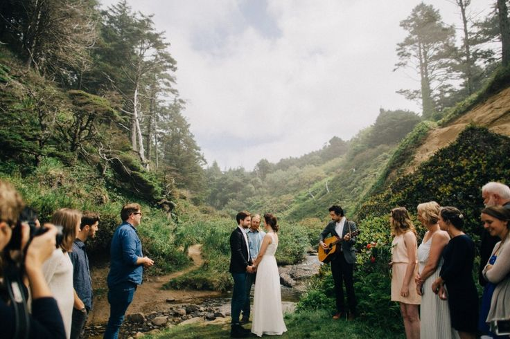 Intimate wedding/elopement outdoor ceremony  Dylan and Sara Photography. Oregon Coast Wedding