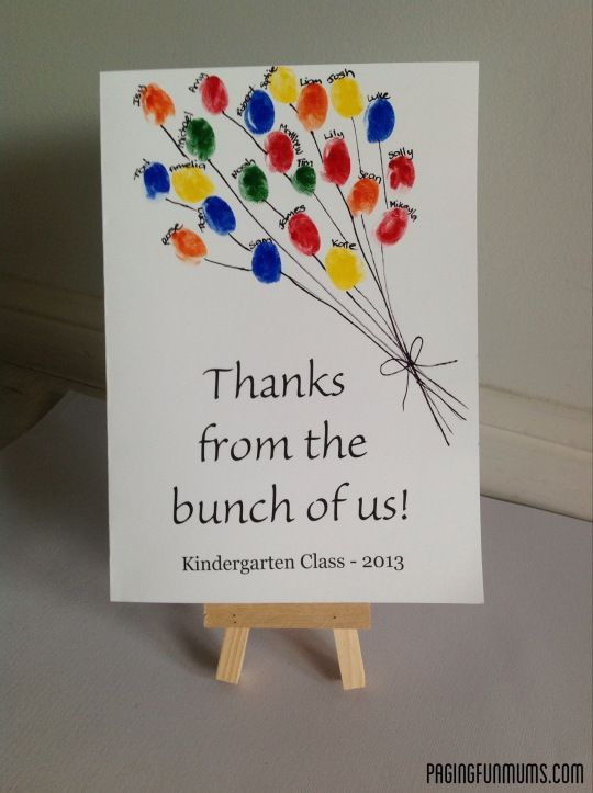This is a fun and easy card to make for Teacher Appreciation Week from the whole class. All we did was print the 'Thanks from the bunch of us' on white cardstock, got each child to stamp their thumbprint using water based paint, wrote each child's name above their print and drew on some string.