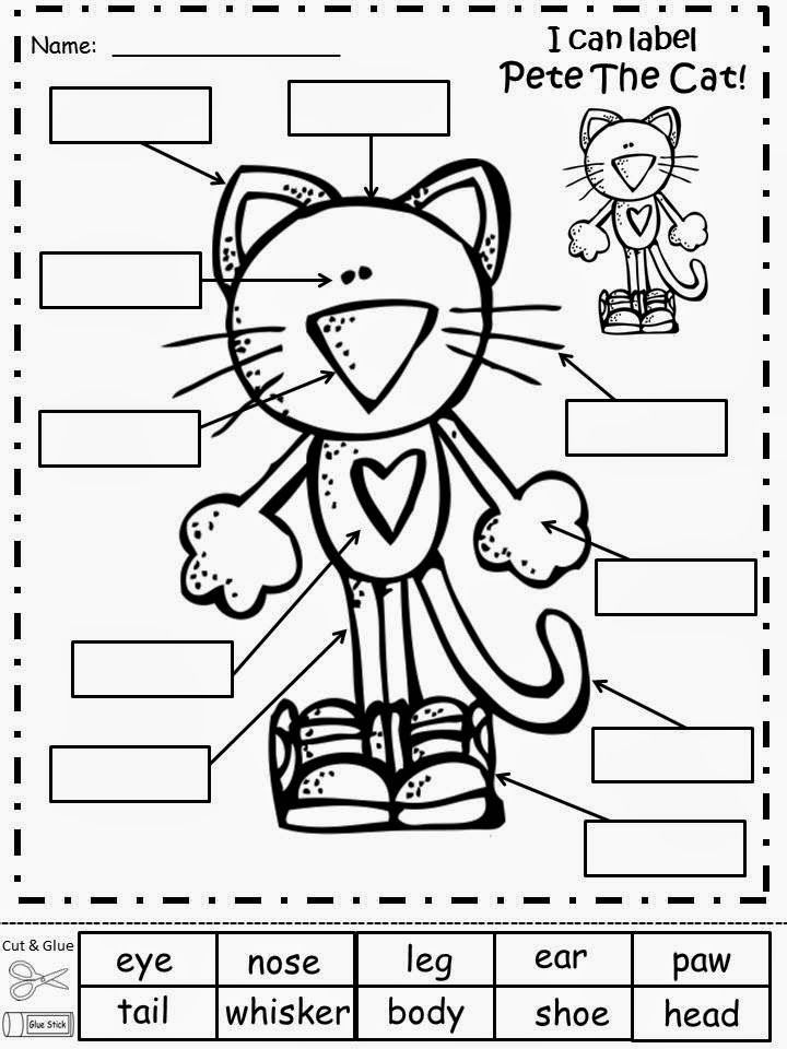 Free Pete The Cat (by James Dean and Eric Litwin) Labeling Sheet.  For Educational Purposes Only...Not For Profit.  Have your students label Pete The Cat after reading about him.  Freebie For A Teacher From A Teacher! Enjoy! Regina Davis aka Queen Chaos at Fairy Tales And Fiction By 2.