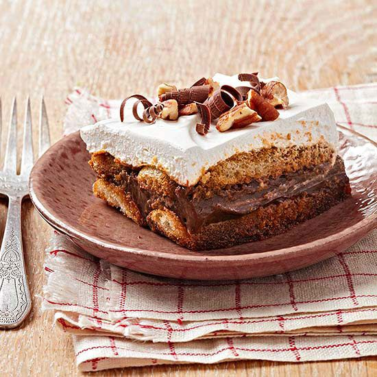 Maple-Bourbon Chocolate Tiramisu with Pecans