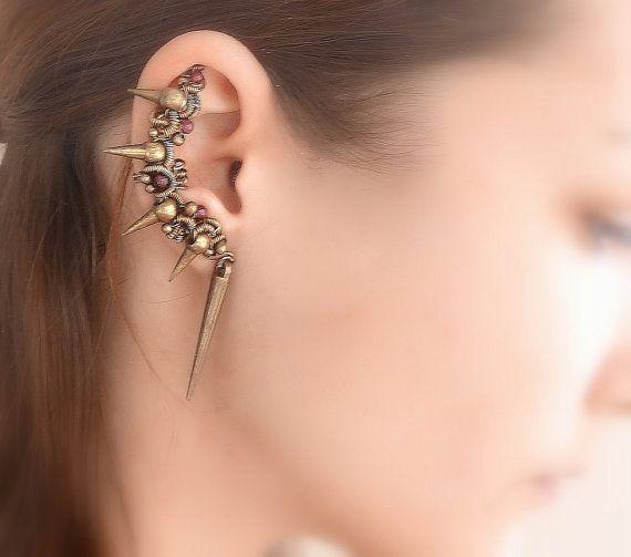 Spiked Golden Bronze Ear Cuff set with Garnet gemstone beads and chains, Rare Ear cuffs, gemstone jewelry, steampunk earcuff, spike earrings...