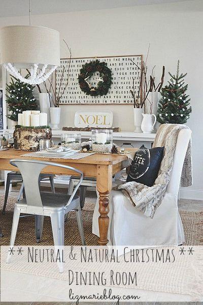 Natural & Neutral Christmas dining room - @Lizmarieblog.com
