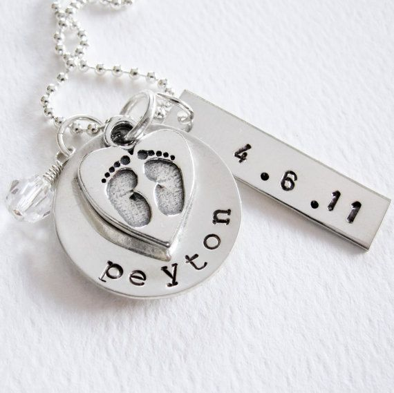 New Baby  New Mom Necklace  Personalized Name by Patricia8Anderson, $55.50.  I got something like this for mother's day with my twins names on then and a little pea pod with 2 peas in it.  So cute.  I wear it all the time now.