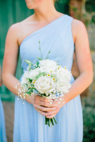 Baby blue dress and a white bouquet: http://www.stylemepretty.com/little-black-book-blog/2014/11/20/al-fresco-california-wedding-at-empire-mine-state-park/   Photography: Mirelle Carmichael - http://www.mirellecarmichael.com/