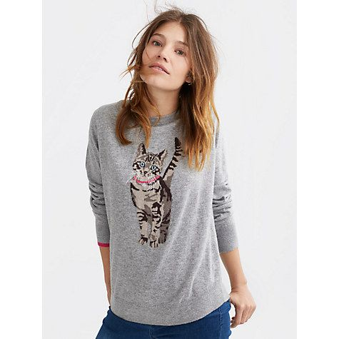 Buy Joules Cat Intarsia Jumper, Grey Online at johnlewis.com
