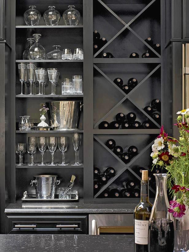 Wine Rack - Wet Bar - Built-In Bookshelf - Home Organization - Interior Design