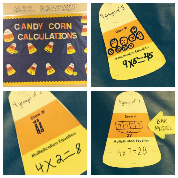 Candy corn calculations with multiplication models. Use as Halloween/fall bulletin board.