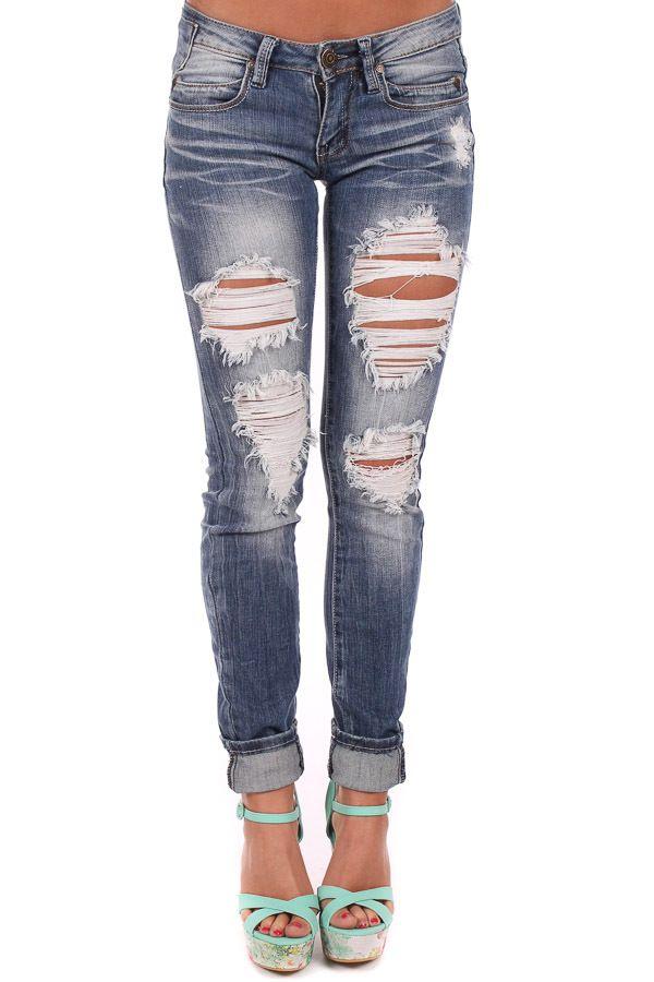 Lime Lush Boutique - Shredded Design Skinny Jeans, $48.99 (http://www.limelush.com/shredded-design-skinny-jeans/)