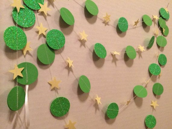 8ft Tinkerbell Inspired Disney Party Garland, Birhtday Party Decoration, Green, Yellow Stars and Circles, Peter Pan on Etsy, $10.00