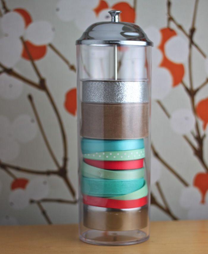 ribbon storage trick!Ribbon Storage, Stores Ribbons, Straws Dispenser, Organic Ideas, Straws Dispeners, Ribbons Storage, Crafts Room, Ribbons Organic, Room Organic Tips