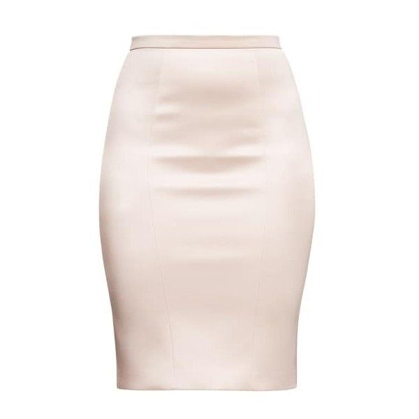 Alice Grace - Peach Stretch Satin Pencil Skirt (4.110 ARS) ❤ liked on Polyvore featuring skirts, bottoms, zip skirt, pencil skirts, knee length bodycon skirt, pink pencil skirt and knee length pencil skirt