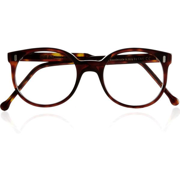 Cutler and Gross Round-frame tortoiseshell optical glasses ❤ liked on Polyvore