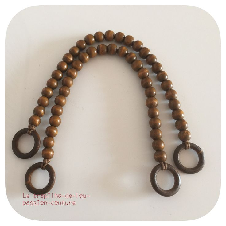 2 anses/ poignées de sac en perles et anneaux en bois de couleur marron : Fermoirs sac, porte-monnaie par le-trapilho-de-lou-passion-couture