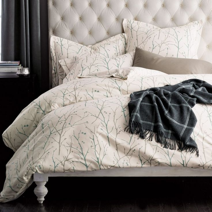 Litchfield 6.2 oz. Velvet Flannel Duvet Cover / Sham - In restful hues of celadon and gray, this beautiful flannel duvet cover displays wintry branches silhouetted against an ivory ground.