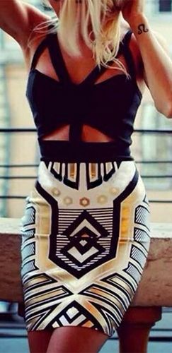 Black White Gold Geometric Cut Out Strappy V Neck Bandage Bodycon Mini Dress