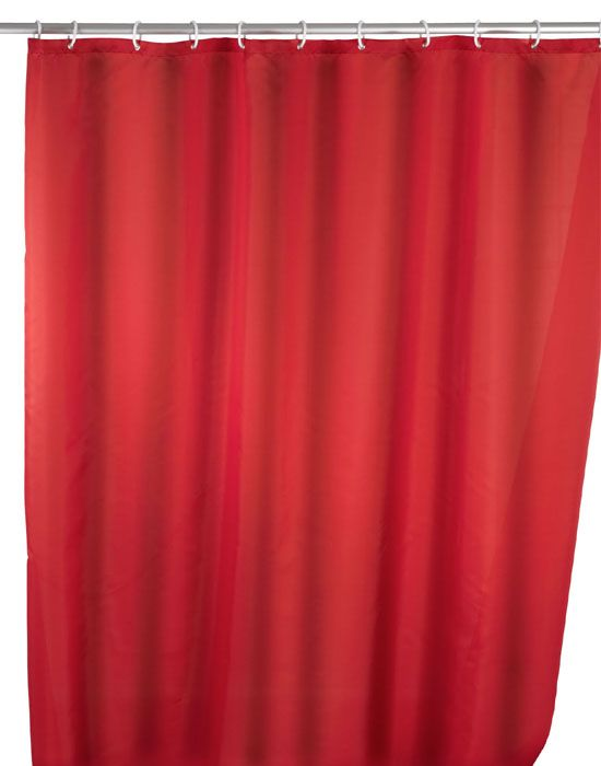 Der klassische Duschvorhang in rot ist aus 100% Polyester und mit einem sensationellen Anti-Schimmel-Effekt ausgestattet, sowie antibakteriell beschichtet. Der Duschvorhang ist besonders haltbar und pflegeleicht. Für € 24,99 bei kloundco.de.