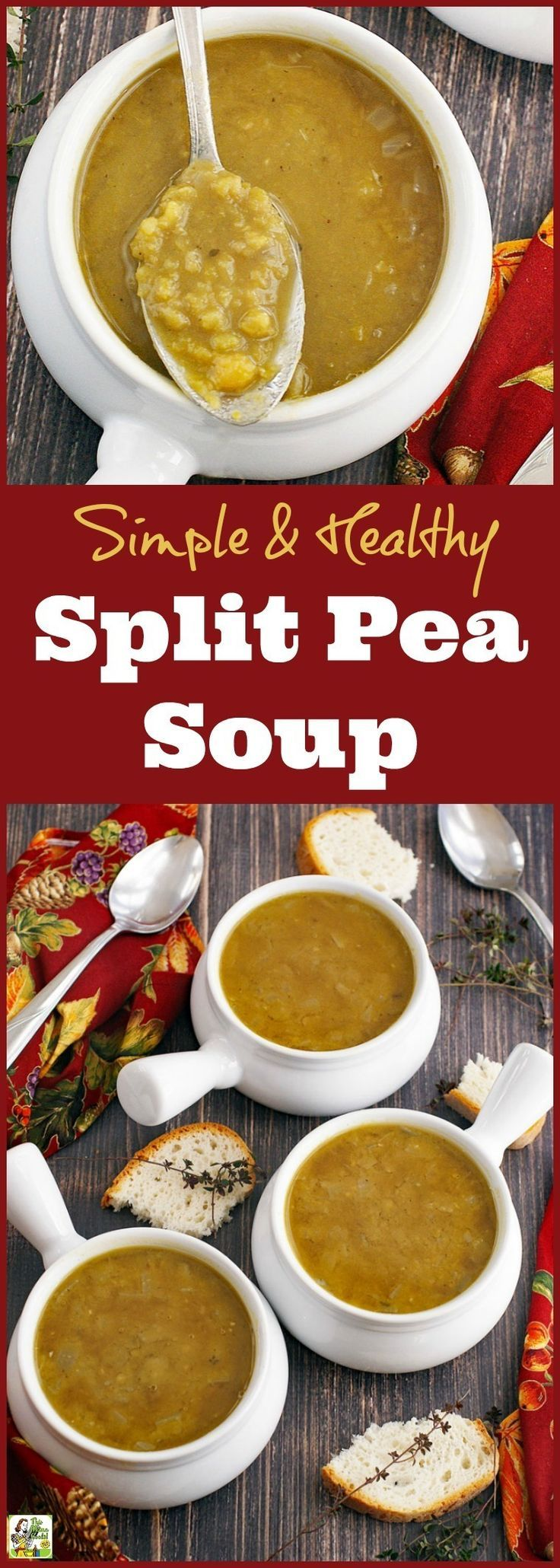 Learn how to make this Simple & Healthy Split Pea Soup recipe. Click to get this easy soup recipe that can be made in about an hour. Perfect for weeknights or make up a double batch to freeze and heat up in your slow cooker or Crock-Pot.