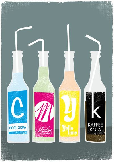 CMYK bottles Art Print via Society6