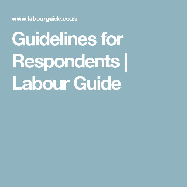 Guidelines for Respondents | Labour Guide