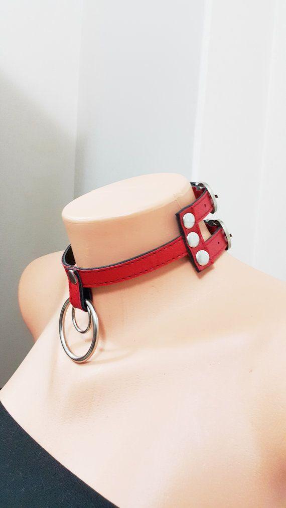 RED Leather collar choker  red leather bdsm chocker by SpunkyOnArt