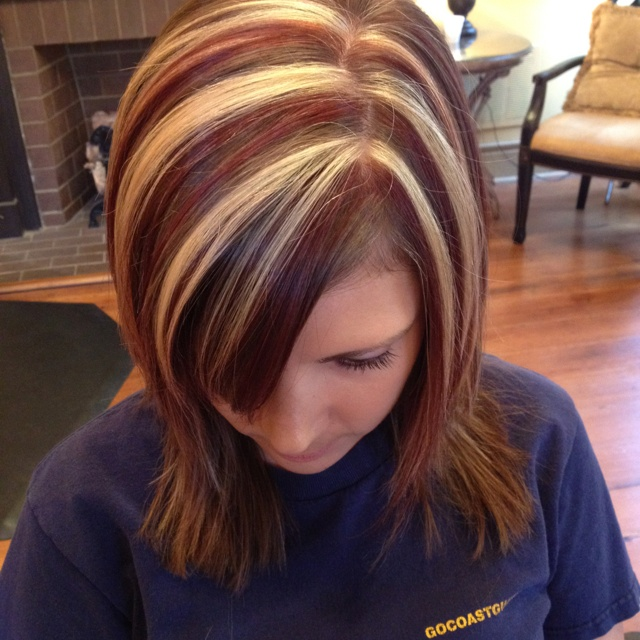 Red And Blonde Highlights But Maybe Tons Of Thin Ones