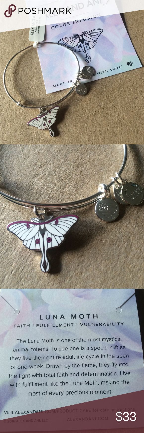 ✨NWT Alex and Ani Luna moth bangle✨ Brand new with tags...shiny silver bangle with white apoxy. Symbolizes faith, fulfillment and vulnerability. Comes with meaning card. From a smoke and pet free home. ❌NO TRADES❌ Alex & Ani Jewelry Bracelets