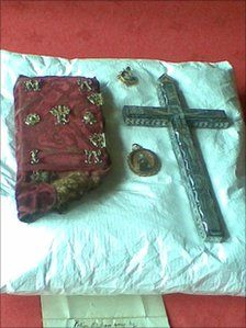 Crucifix and cover of the prayer book that Mary, Queen of Scots carried with her on the day of her execution.