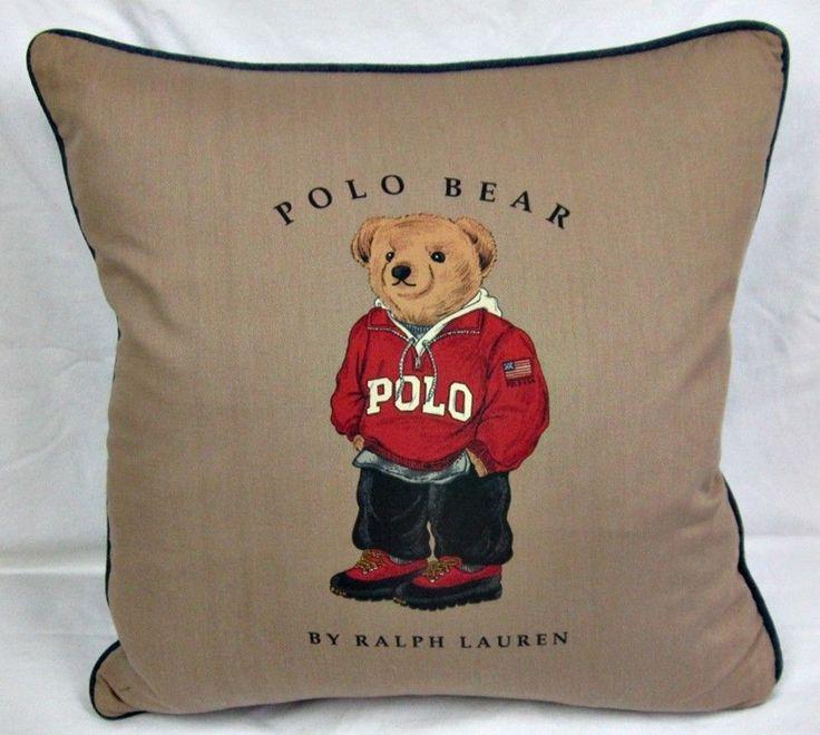 Vintage Ralph Lauren Collegiate Polo Bear Khaki Front Denim Back Pillow 18 X 18 #RalphLauren