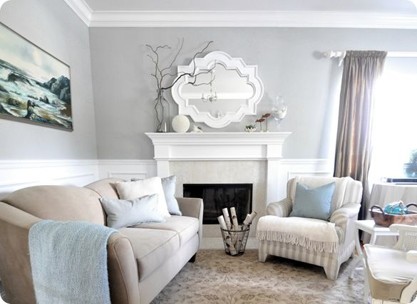 The gray in our bedroom turned out darker than what I was wanting, :( but I'm still going for this light airy look by adding lots of pops of bright white. I'm dying to find a morrocan mirror like hers to spray paint!