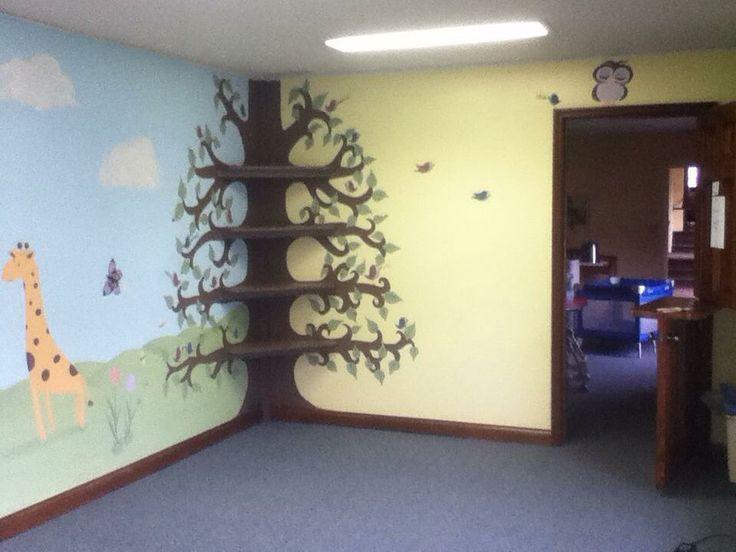 Church nursery tree mural with shelves nursery pinterest for Church wall mural