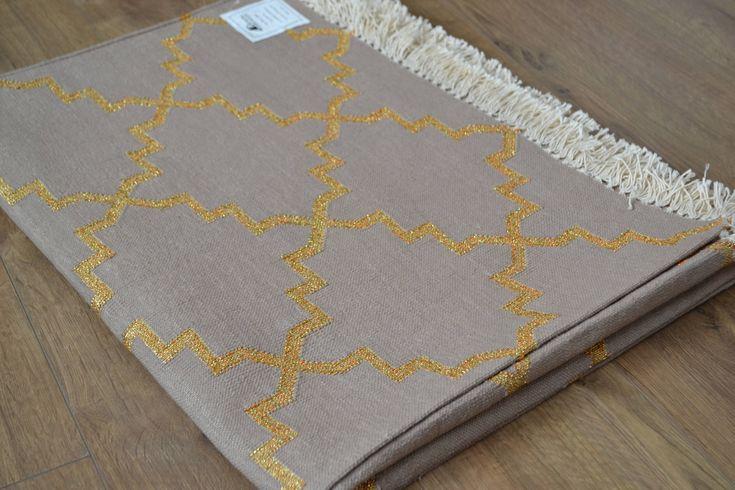 Cotton Rug Beige Brown Gold Zari Handmade Woven Moroccan Turkish Pattern - 120x180cm by DesignsEmporium on Etsy