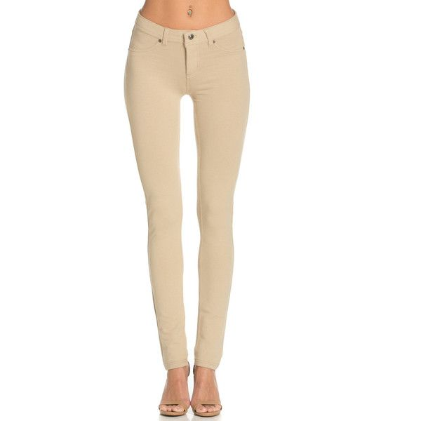 Casual Mid-Rise Knit Skinny Pants Khaki | My Yuccie ($28) ❤ liked on Polyvore featuring pants, beige skinny pants, skinny khaki pants, knit pants, beige pants and khaki pants