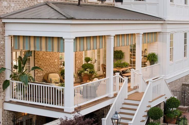 Porches should connect your interior to the exterior with ease, and provide additional living space. This functional floor plan features a place to dine and a space to visit. Photo courtesy of Sunbrella