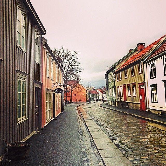 An empty street at Bakklandet, Trondheim, Norway