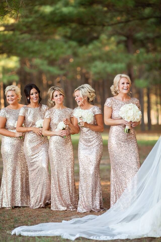 Fabulous Badgley Mischka bridesmaid gowns-they certainly would make the wedding sparkle!