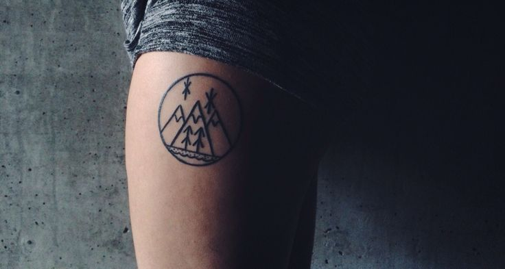 My third tattoo, done August 2015 by Curt Montgomery at Lower East Side Tattoo, TO. #mountaintattoo #westcoast #legtattoo