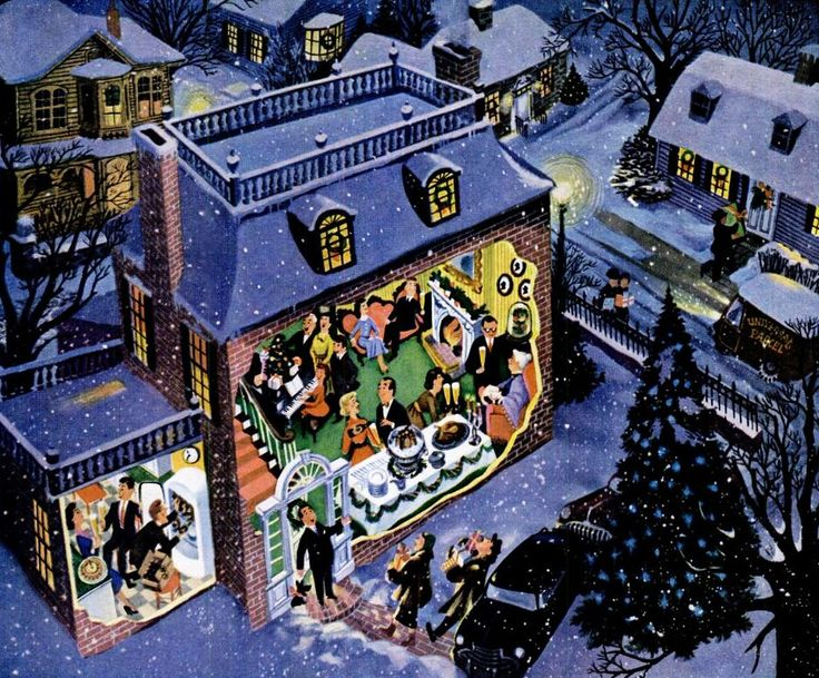 Holiday Buffet, art by Frederick Siebel. Detail from 1953 Ballantine Beer ad.