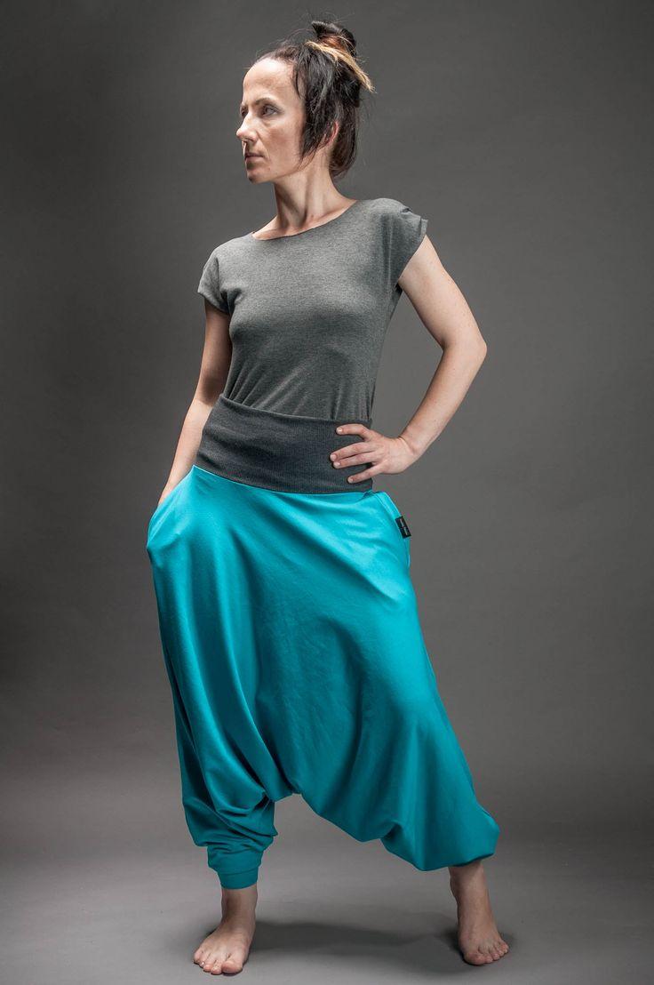 Spodnie Haremki z kieszeniami damskie turkus