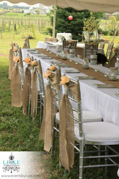Rustic Burlap Wedding Head Table Decor