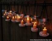 So cute.: Masons, Idea, Jars Candles, Hanging Teas, Teas Lights, Mason Jars Lanterns, Lanterns Hanging, Mason Jar Lanterns, Hanging Tea Lights