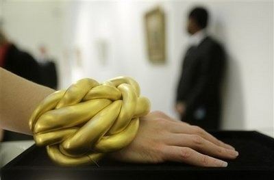 One-off yellow Gilded Cuff Bangle by LOUISE BOURGEOIS