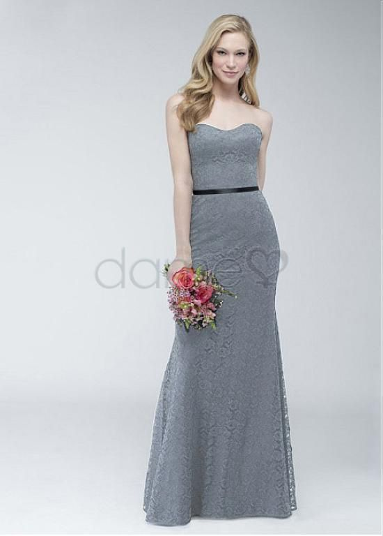 Lace Overlay Etui Spitze keine Taille trägerloses elegantes & luxuriöses volle länge Brautjungfernkleider