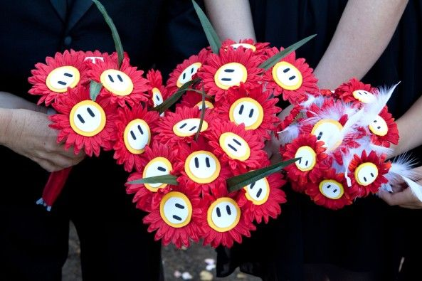 Fire flower bouquets - super mario / video game wedding - Teresa Corsie Photography